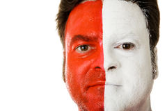 Fan in Face Paint. Sports fan made up with face paint to support his team. Could be football or soccer royalty free stock photography
