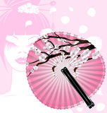 Fan and face. Pink background and the rounde blossom fan with abstract face of girl Royalty Free Stock Photos