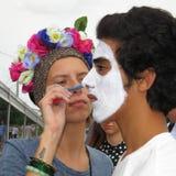 Fan farby twarze - Akcyjne fotografie fotografia stock