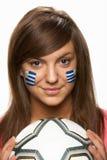 fan female flag football pain uruguayan young στοκ εικόνα
