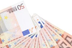 Fan of fifty euro banknotes. Whole background. Close up Stock Photo