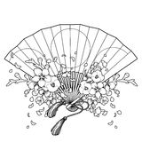 Fan with floral decoration vector illustration