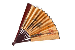 Fan with floral Japanese pattern. Royalty Free Stock Photo