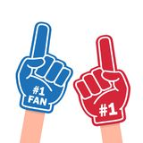 Fan foam finger. Blue and red sports item for hand to show a support for a team on championship game. Vector flat style cartoon illustration isolated on white royalty free illustration