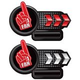 Fan foam hand on red and white arrow ads Royalty Free Stock Images