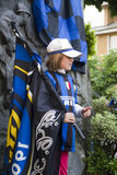 Fan of football club internazionale. Celebrates the victory of new champions Italy football Serie A. May 16, 2010 Royalty Free Stock Image