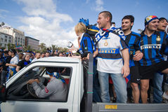 Fan of fotball club internazionale of milan group Stock Photography
