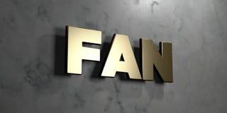 Fan - Goldzeichen angebracht an der glatten Marmorwand - 3D übertrug freie Illustration der Abgabe auf Lager Stockbild