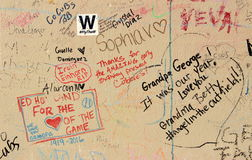 Fan Graffiti on a Wall at Wrigley Field after 2016 World Series Win. Fan grafitti is shown on a wall outside Wrigley Field after the 2016 baseball World Series Stock Images