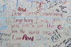 Fan Graffiti on a Wall at Wrigley Field after 2016 World Series WinStatue of Chicago Cub Ernie Banks. Fan grafitti is shown on a wall outside Wrigley Field after Stock Photo