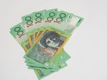 Fan of green Australian $100 dollar Royalty Free Stock Image