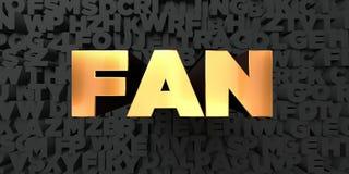 Fan - guld- text på svart bakgrund - 3D framförd fri materielbild för royalty Royaltyfri Bild