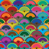 Fan half circle colorful seamless pattern. This illustration is design half circle with fan and colorful in symmetry seamless pattern stock illustration