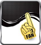 Fan hand on black checkered wave background Stock Photos