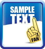 Fan hand on blue halftone banner Royalty Free Stock Images