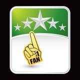 Fan hand on green star background stock illustration