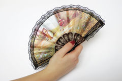 Fan in hand. With the Spanish motif Stock Photos