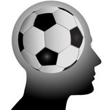 Fan head has football soccer in mind Royalty Free Stock Photography