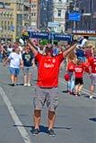 Fan heureux de Liverpool avant la finale 2018 de ligue de champions d'UEFA à Kiev, Ukraine, images libres de droits