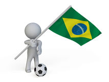 Fan holding a ball and flag of Brazil. In 3D Royalty Free Stock Photography