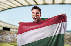 Fan holding the flag of Hungary Royalty Free Stock Photo