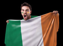 Fan holding the flag of Ireland Stock Photo