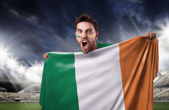 Fan holding the flag of Ireland Royalty Free Stock Images
