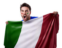 Fan holding the flag of Italy on white Royalty Free Stock Images