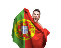 Fan holding the flag of Portugal on white background Royalty Free Stock Photography