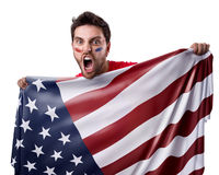Fan holding the flag of USA om white background Royalty Free Stock Photo