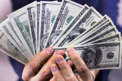 Fan of hundred-dollar bills Stock Photography