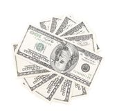 Fan of hundred-dollar bills. Royalty Free Stock Photography