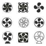 Fan icon set. Fan vector icons set. Black illustration isolated on white background for graphic and web design Vector Illustration
