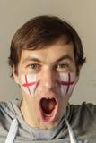Fan inglesa con la cara pintada Fotos de archivo