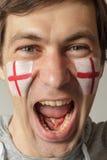 Fan inglesa con la cara pintada Fotografía de archivo libre de regalías