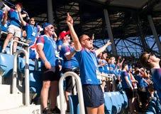Fan islandesi allo stadio a Volgograd cantare la loro canzone nazionale prima della partita Coppa del Mondo Russia 2018 immagine stock libera da diritti
