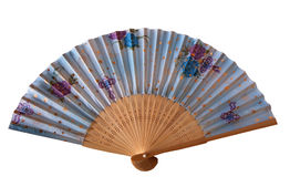 Fan isolated. Hand fan blue female isolated Stock Image