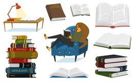 Fan książki kobieta siedzi na leżance Elegancki literatura kochanek z szkłami Sterta pojemność i otwierająca royalty ilustracja
