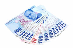 Fan of Liras. A ten and hundred Lira notes in fan shape Royalty Free Stock Images