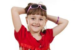 Fan little girl smiling. Stock Photo
