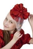 Fan little girl smiling. Royalty Free Stock Photo
