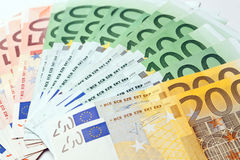 Fan made of euro paper currency Royalty Free Stock Photos
