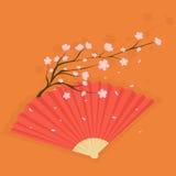 Fan med körsbärsröda blomningar Arkivbilder