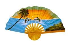 Fan mit Bild des tropischen Strandes Stockfotografie