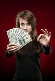 Fan of money and sign OK Stock Images