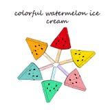 Fan multicolora del helado de la sand?a ilustración del vector