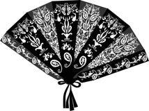 Fan nero decorato isolato su bianco Fotografie Stock