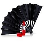 Fan nero e rossetto rosso illustrazione vettoriale
