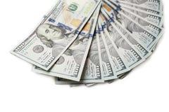 Fan of new hundred dollar bills isolated on white background Feng Shui stock image