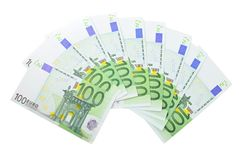 Fan from number of euro banknotes Royalty Free Stock Photos